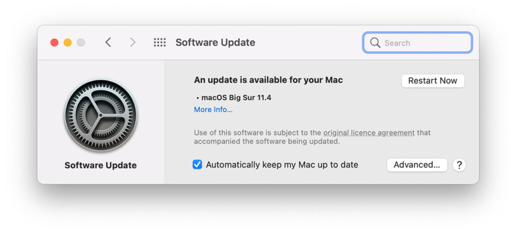 Software update for mac