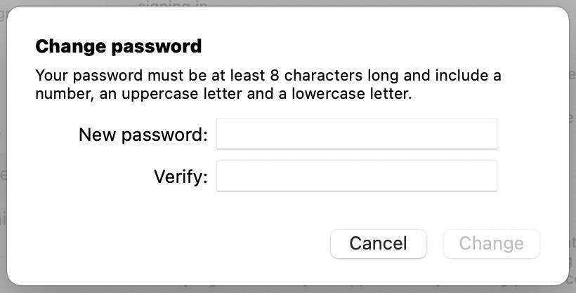 new password on mac