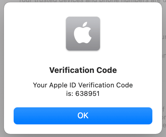 verification code on mac